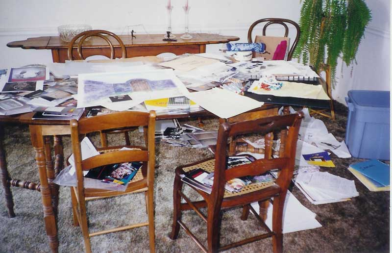 Cluttered Kitchen Table